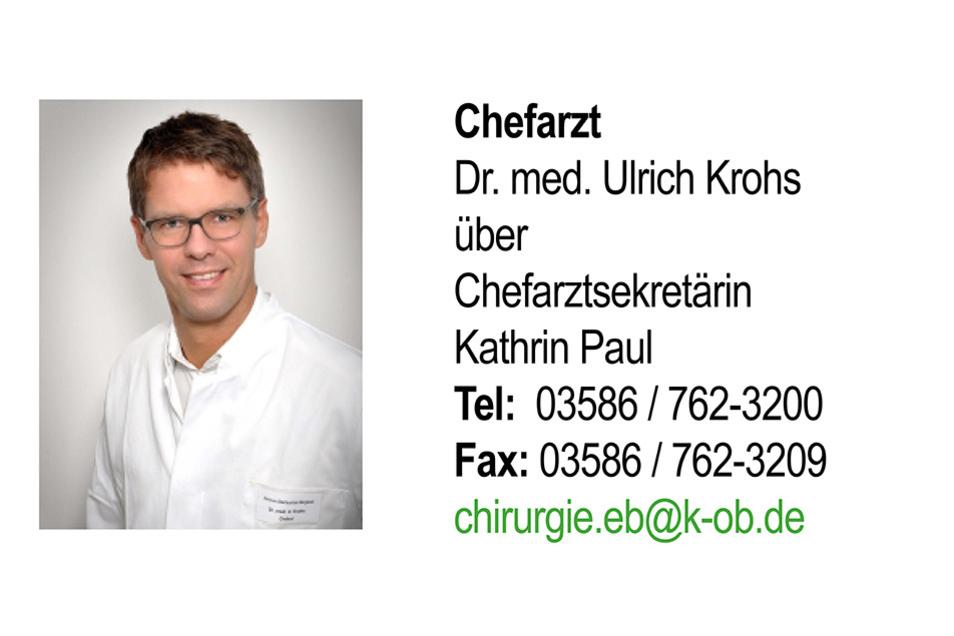 Unter der Leitung von Dr. med. Ulrich Krohs arbeitet das Team in EBERSBACH-NEUGERSDORF. Das Leistungsspektrum beinhaltet hier die Allgemein- und Viszeralchirurgie, die endoskopische und minimal-invasive Chirurgie, das Hernienzentrum sowie die Gefäß-, Kinder-, Unfall-, Hand- und Rheumachirurgie.Dieser Standort beheimatet außerdem die Klinik für Orthopädie.
