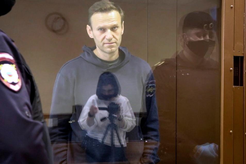 Alexej Nawalny während einer Anhörung vor Gericht in Moskau.
