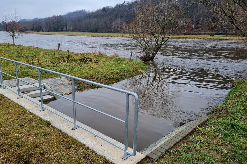 Der Regenwassersammler in Paudritzsch ist durch einen verschließbaren Gewässerdurchlass (Siel) mit der Mulde verbunden.