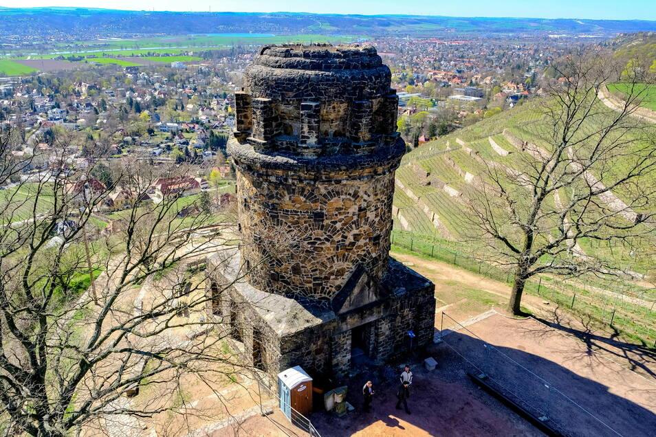 Die Treppe im Turm führt zur Spitze des Bismarckturms mit der Aussichtsplattform in rund 18 Meter Höhe.