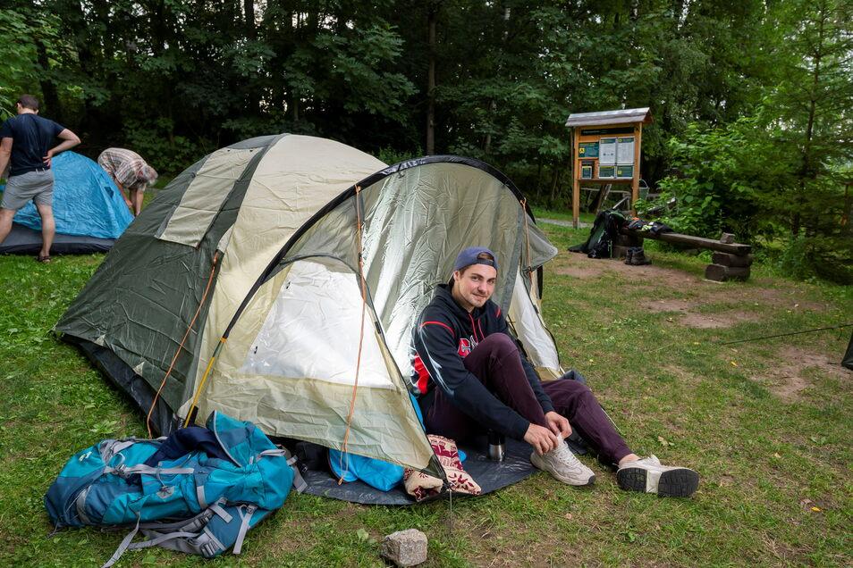 Im Sommer 2020 durfte am Forststeig noch campiert werden - trotz Corona-Pandemie. Das nutzte im Juli Julian Mumberg aus Hannover, der in Nikolsdorf übernachtete.