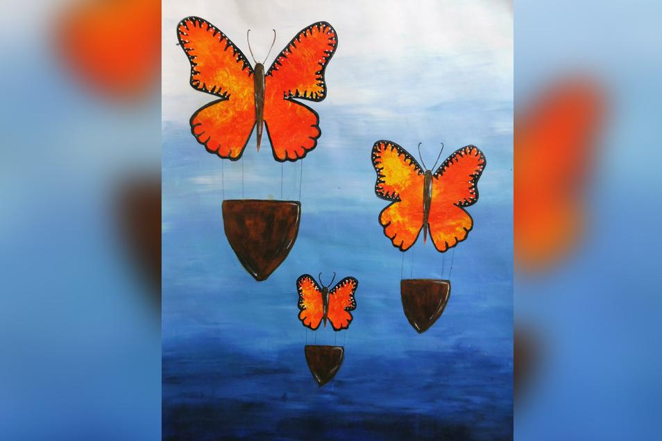 """Luise Poppitz hat sich für das Bild """"Schmetterlingsreise"""" für die Technik Decalcomanie mit Acrylfarben entschieden, """"da man mit dieser Technik die Strukturen eines echten Schmetterlings verwirklichen kann"""", so die Zehntklässlerin."""