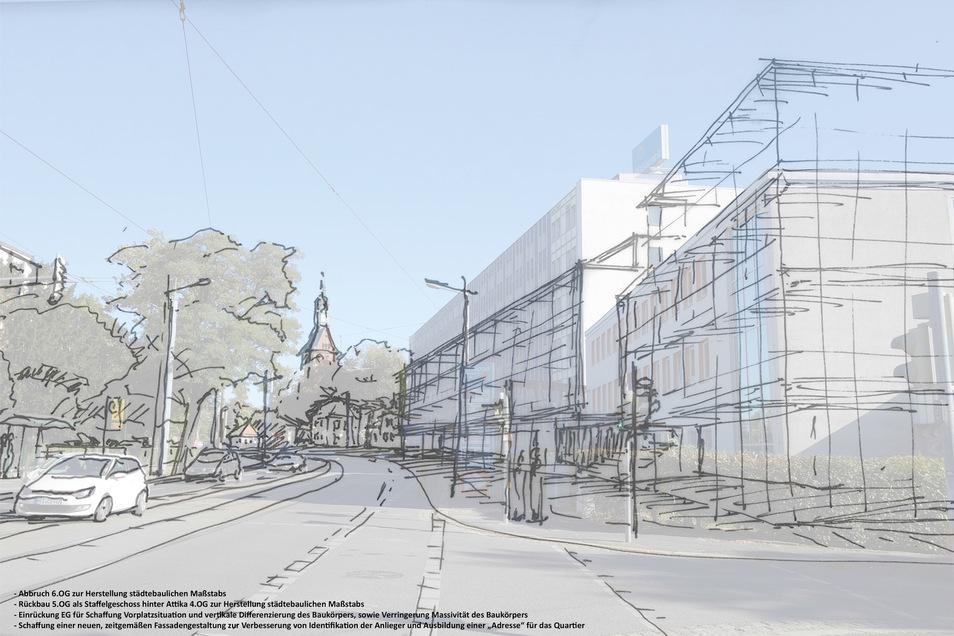 Eine erste Skizze lässt erahnen, wie das Gebäude von der Meißner Straße zukünftig aussehen wird: deutlich niedriger und mit einem Arkadengang zum Gehweg. Das Haus davor wird abgerissen und durch einen Neubau ersetzt.