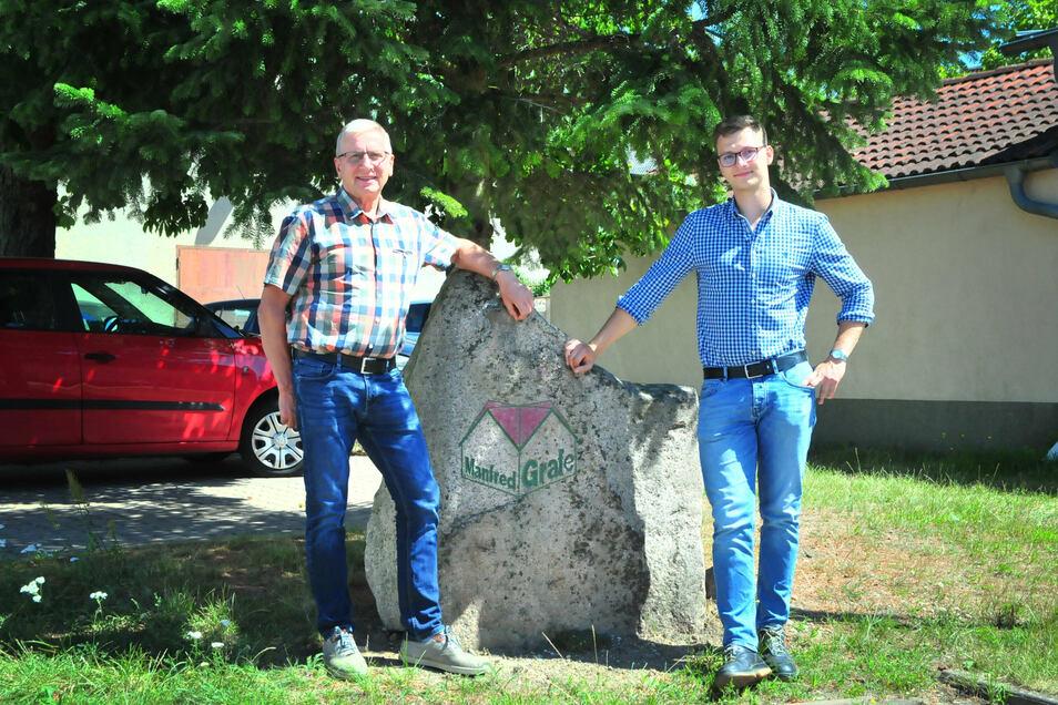 Manfred Grafe (li.) gründete am 1. August 1990 das gleichnamige Bauunternehmen in Stroga. Sohn Clemens steht für die Nachfolge in der Geschäftsführung bereit.