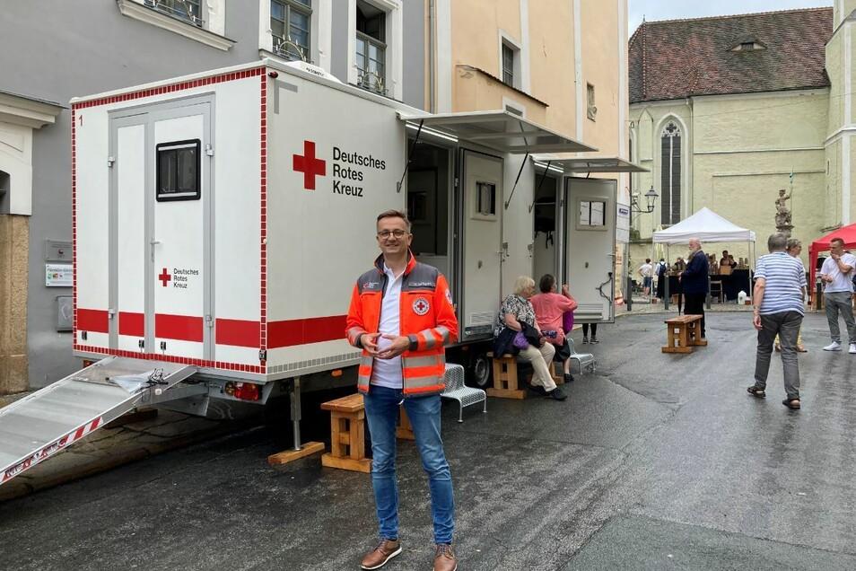 Kai Kranich ist Sprecher des DRK Sachsen. Am Sonnabend ist er in Görlitz mit dabei bei der Impfaktion an der Fleischerstraße.