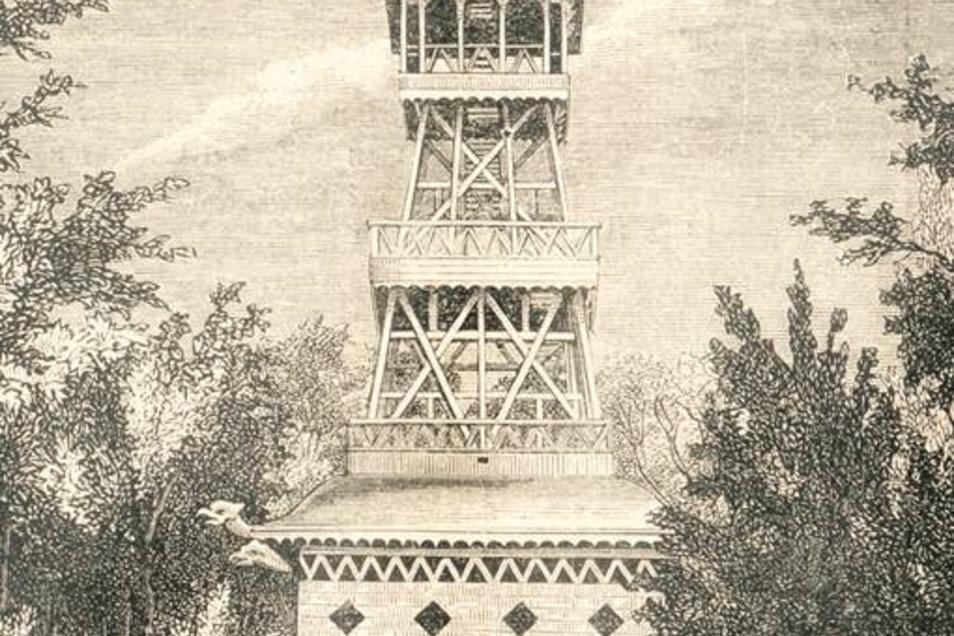 Ganz alt – eine Zeichnung des Chinesischen Turms …