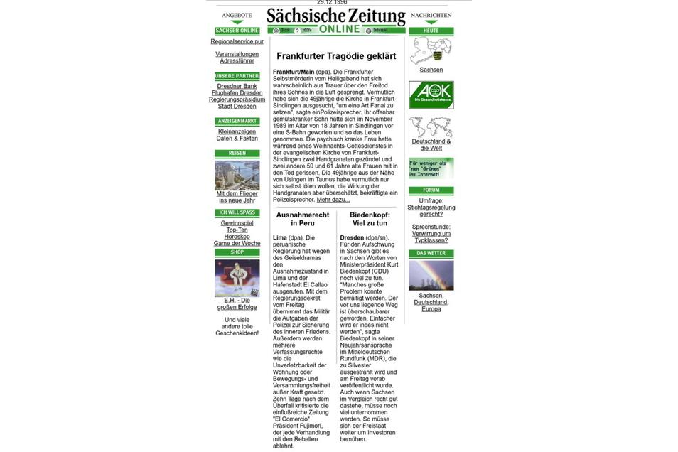 Silber-Jubiläum: Am 11. November 1996 erblickt SZ-Online das Licht der Welt.