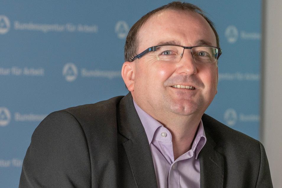 Thomas Stamm ist Chef der Arbeitsagentur Riesa, die für den kompletten Landkreis Meißen zuständig ist. Derzeit hat er guten Grund, optimistisch zu sein.