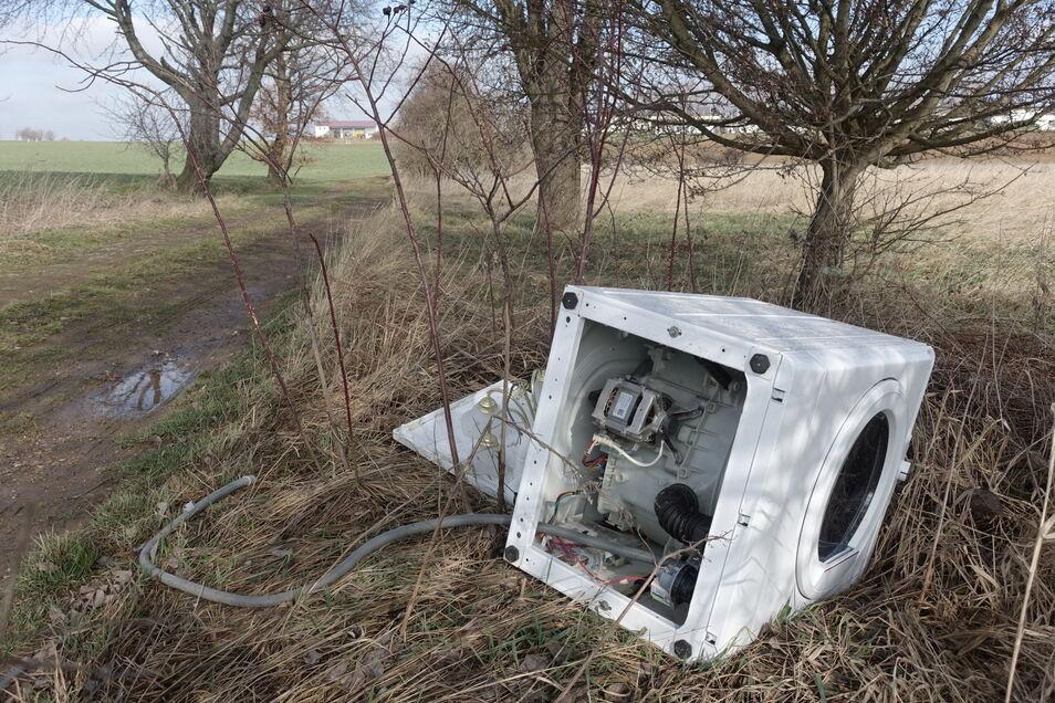 Eine alte Waschmaschine wurde im Frühjahr zwischen Gadewitz und Döschütz entsorgt. Eines von mehreren Müllbeispielen aus der Region Döbeln, das für Ärger sorgt. Nun will der Müllentsorger Abhilfe schaffen.