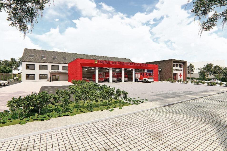 So könnte es mal aussehen am künftigen Standort fürs neue Gerätehaus samt Rettungswache in Moritzburg. Die Visualisierung ist eine erste Studie.