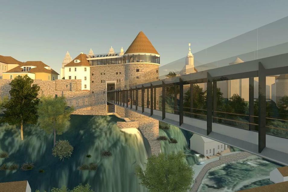 Sieht so Bautzens neue Brücke über die Spree aus?Die Fachwerkbrücke mit Ankunft im Langhaus der Ortenburg ist zumindest der Favorit der Stadträte und der Verwaltung.