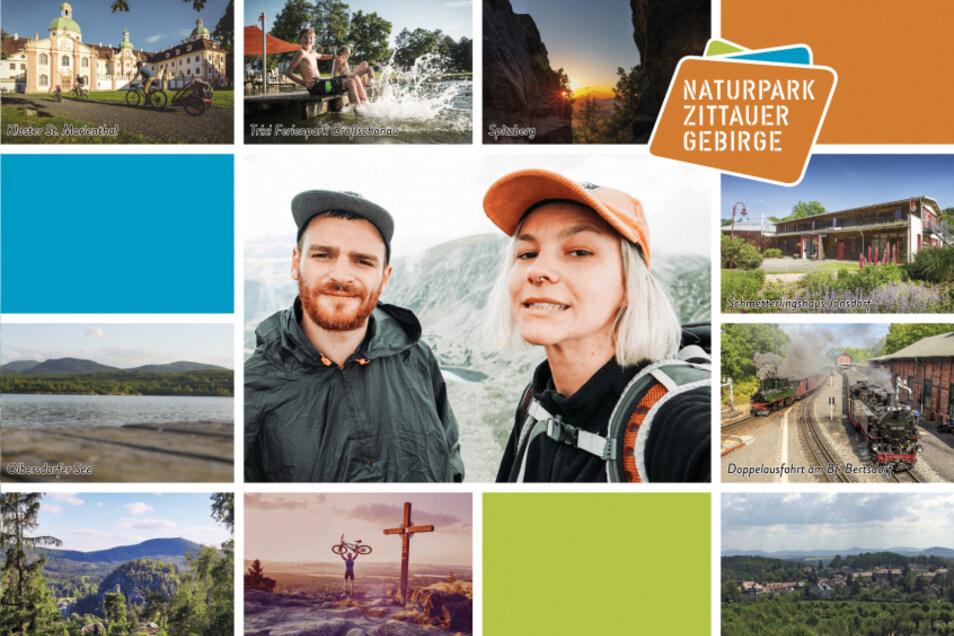 So sieht eine der Karten aus, die Besucher des Zittauer Gebirges am Handy mit eigenen Fotos ergänzen und dann per Post verschicken können.