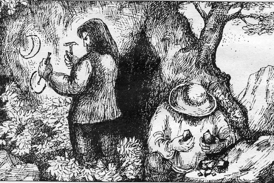 Im Mittelalter aus dem Süden zugewandert: Walen bei der Suche nach Gold, Erzen und Edelsteinen. Fundstellen markierten die Fremden mit in den Fels eingemeißelten Symbolen.