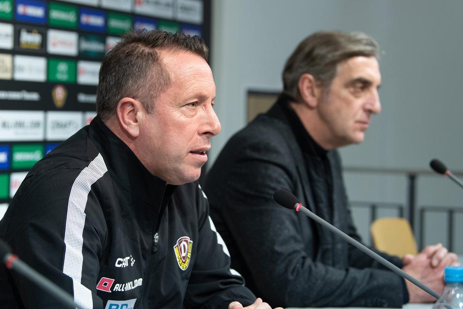 Trainer Markus Kauczinski und Sportchef Ralf Minge stellen Dynamo jetzt auf den Neustart in der 2. Fußball-Bundesliga ein.