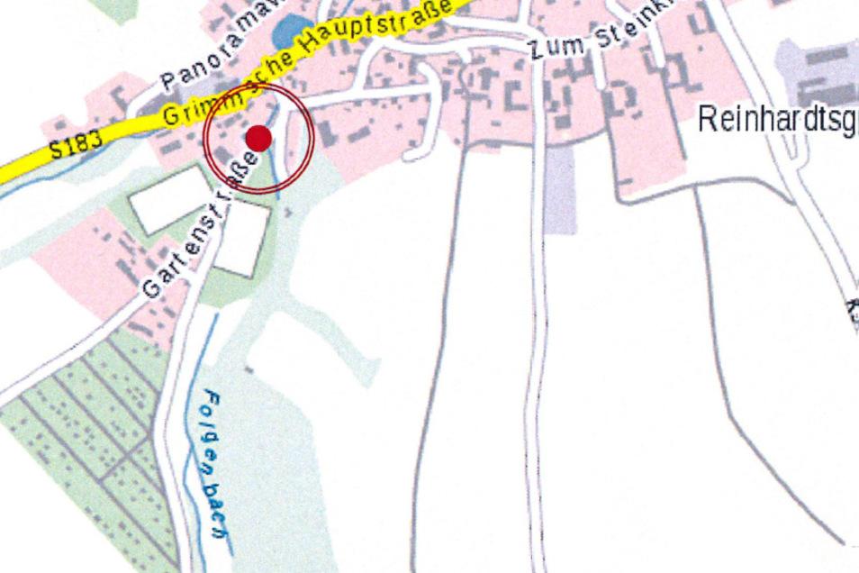 Die zu erneuernde Brücke befindet sich an der Gartenstraße in Reinhardtsgrimma. Über diese gelangt man zur Turnhalle, zum Sportplatz und zu Kleingärten.
