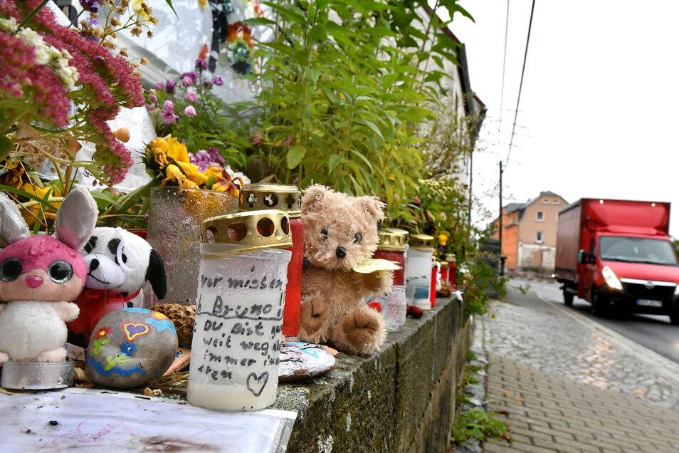 Im Radeberger Ortsteil Großerkmannsdorf ist die Trauer groß. Mit Kerzen und Kuscheltieren gedenken Mitschüler, Verwandte und Anwohner des verunglückten Jungen.