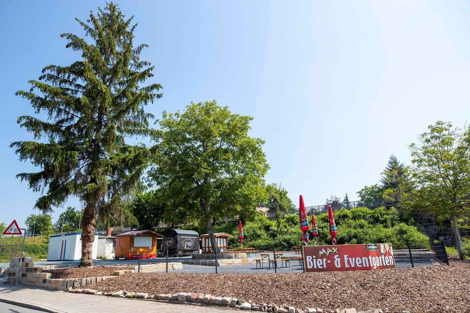 Der neue Biergarten an der Rudolf-Renner-Straße in Pirna hat bislang nur am Wochenende geöffnet. Das wird sich ab dem 1. Juli ändern.