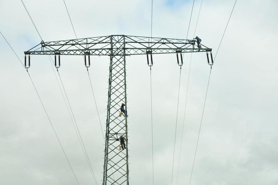 Schwindelfrei muss man schon sein, um in über 20 Meter Höhe Strommasten anzustreichen.