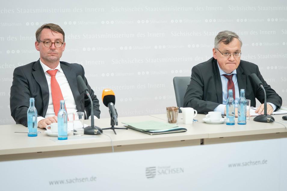Roland Wöller und der neue Verfassungsschutz-Präsident Dirk-Martin Christian.