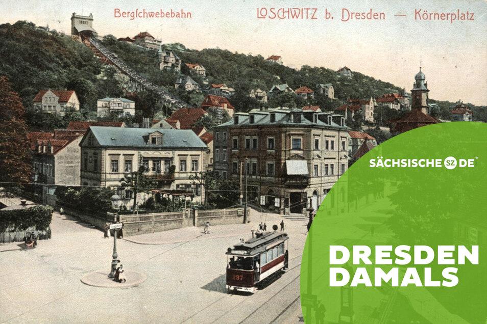 Der Körnerplatz ist der nördliche Teil des ehemaligen Loschwitzer Dorfkerns. Die Ansicht zeigt ihn um 1908. Im Hintergrund die Loschwitzer Kirche.