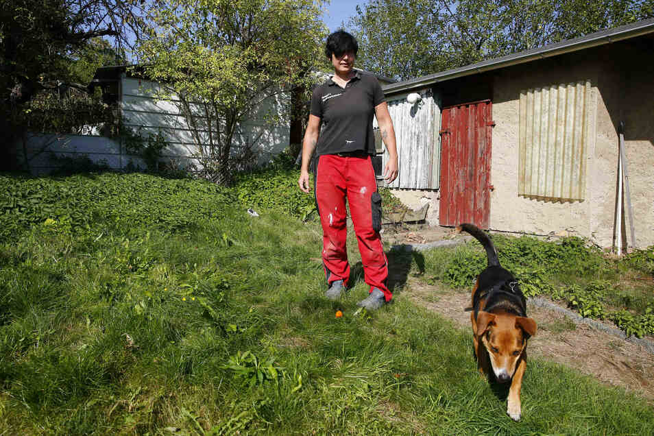 Auch viel Hinterland gibt es im neuen Haus von Katja Morenz. Vierbeiner Danny, dem polnischen Tierheimhund, gefällt das besonders gut.