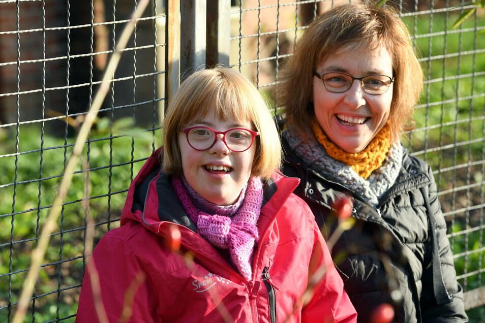 Katja Zerbe mit ihrer Tochter Farah, die mit dem Down-Syndrom auf die Welt kam.