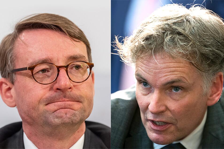 Mit einer dürren Pressemitteilung trennte sich Innenminister Roland Wöller (l.) von seinem Verfassungsschutz-Präsidenten Gordian Meyer-Plath.