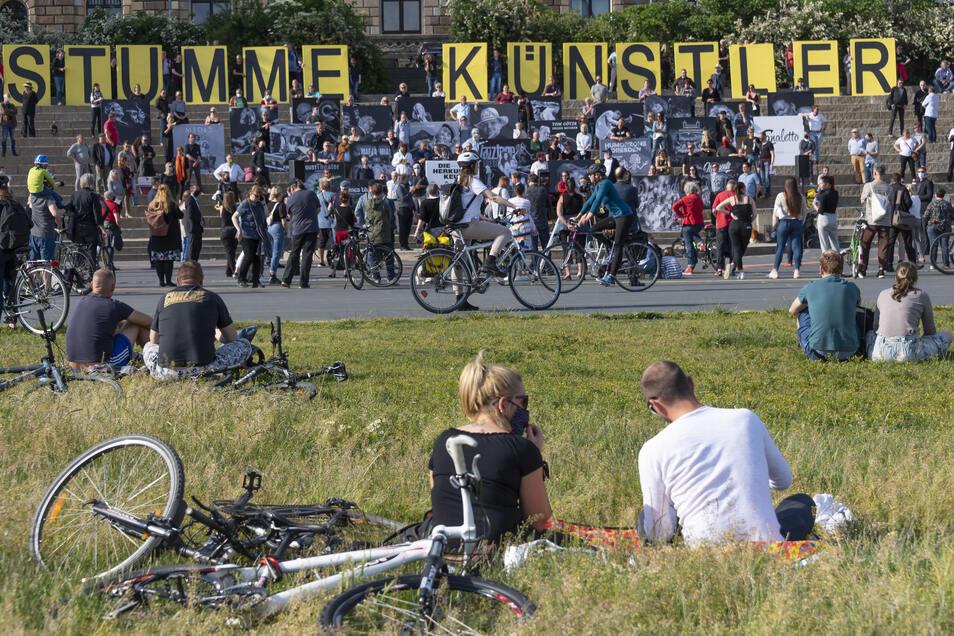 Demonstration mit ernstem Hintergrund inmitten eines Idylls: Zum dritten Mal trafen sich freie Künstler am Dresdner Elbufer, um Hilfe einzufordern.