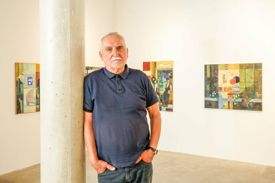 Der Bautzener Maler Hans Kutschke stellt derzeit in der Galerie Budissin aus.