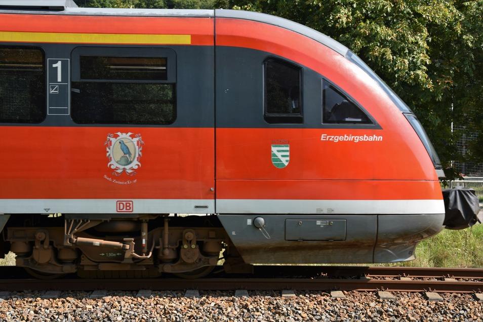 """Der Triebwagen """"Stadt Zwönitz"""" unterwegs im Müglitztal."""
