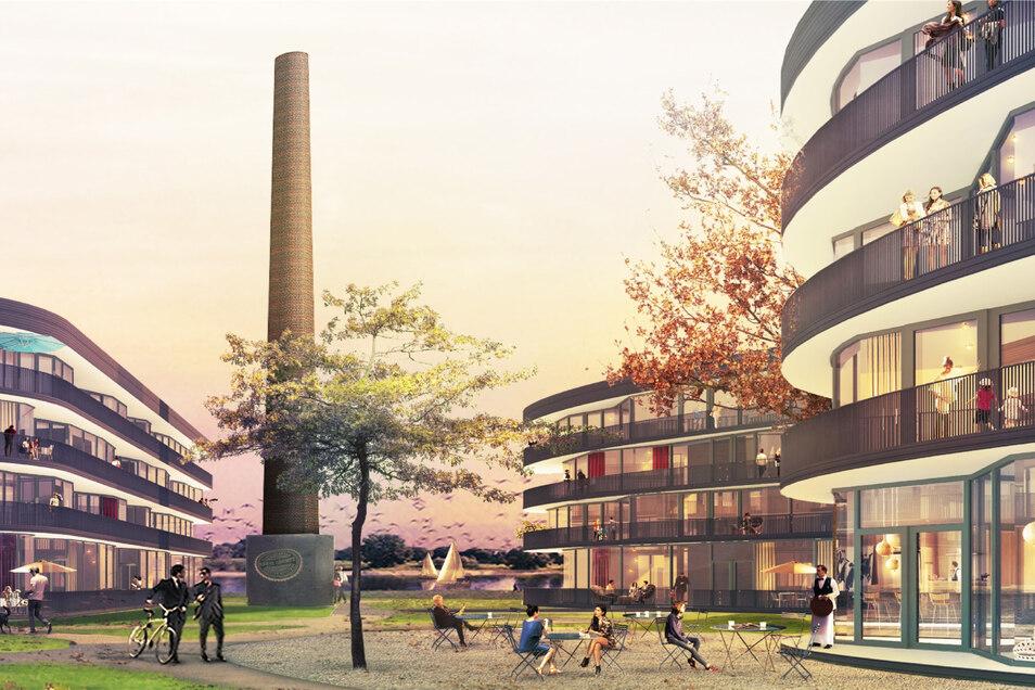 So soll das Neubaugebiet Marina Garden am Pieschener Elbufer künftig aussehen. Der Schornstein existiert inzwischen jedoch nicht mehr.