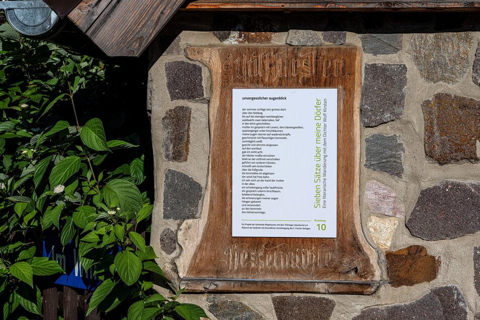 So sind die Gedichte von Wulf Kirsten zu lesen: hier eines an der Ecke Neudeckmühlenweg.
