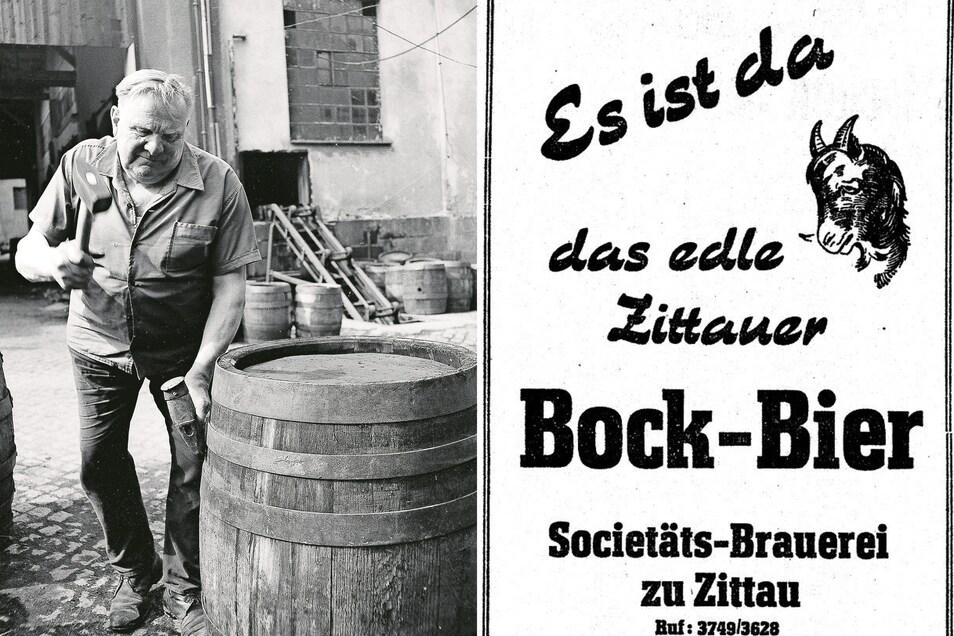 Ein wertvolles Zeitdokument der Brauereigeschichte ist dieses um 1980 aufgenommene Bild des letzten Böttchers (links). Als die Bierwelt noch in Ordnung war, wurde der Gerstensaft auch großzügig beworben: Bockbier-Reklame im November 1958 (rechts).