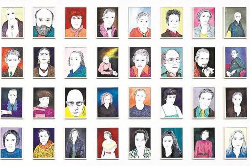 """""""48 Porträts"""" von Grit Hachmeister empfangen den Besucher der neuen Schau """"Ortsbestimmung"""", die bis März Werke jüngerer sächsischer Künstler zeigt. Fotos/Repros: Nikolai Schmidt"""
