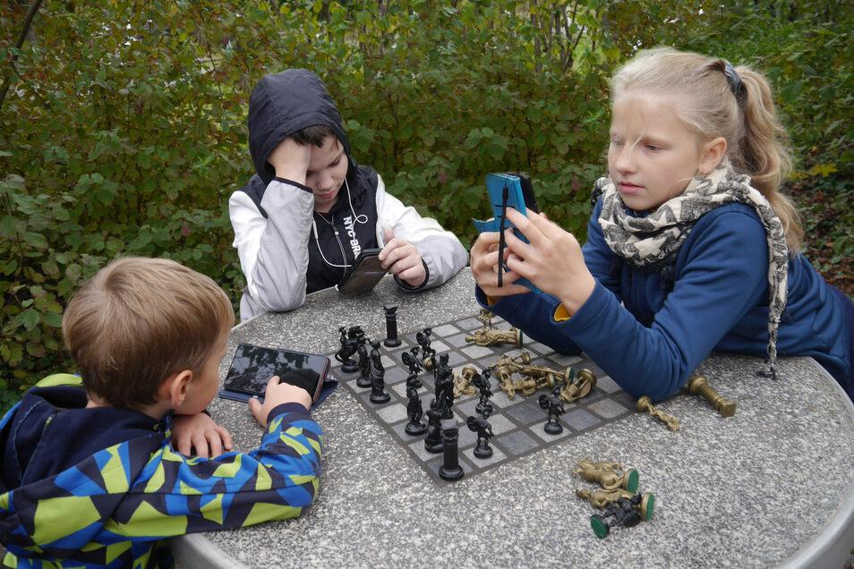 Drei Kinder lassen sich von ihren Smartphones ablenken: Hannah Lehmann aus Radeberg hat für die Dresdner AG Foto den dritten Preis im DVF-Themenwettbewerb gewonnen.
