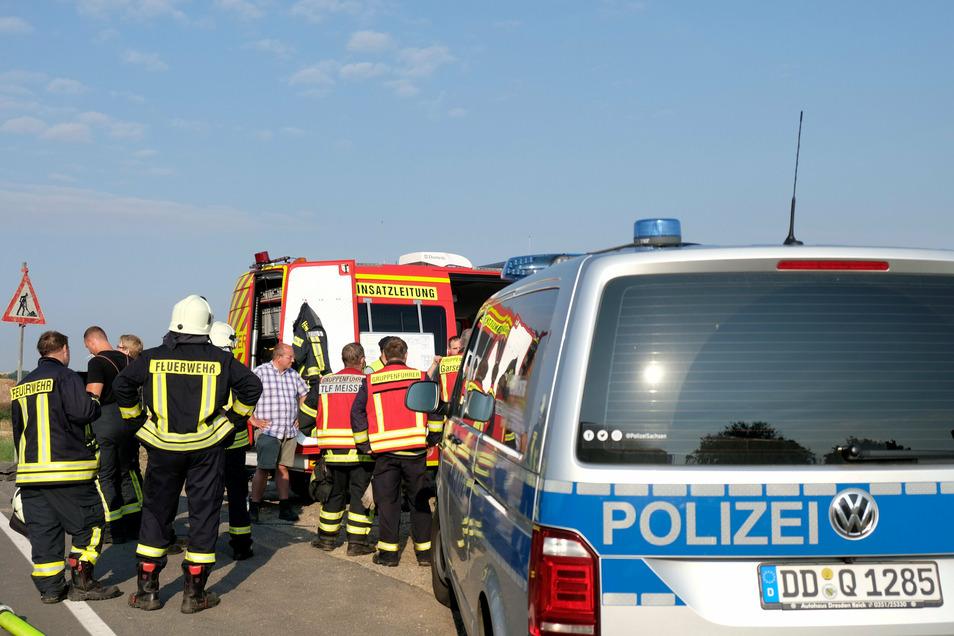 Großbrand in Sönitz bei Taubenheim: Die Polizei sucht nach Zeugen.