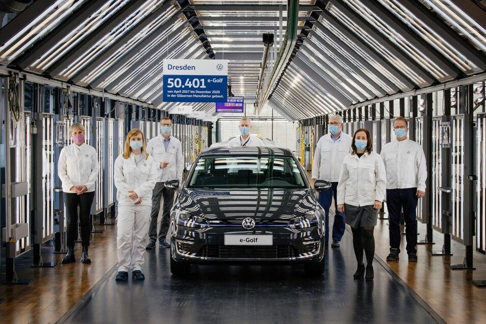 Abschied vom e-Golf: Nach 50.401 Fahrzeugen in der Gläsernen Manufaktur endet die Produktion.