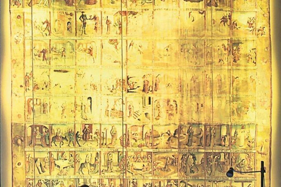 """Fastentuch Jedes Jahr sehen sich Tausende das Große Zittauer Fastentuch im Museum """"Kirche zum Heiligen Kreuz"""" an. Es stammt von 1472, ist das einzige in Deutschland noch erhaltene Fastentuch des alpenländischen Feldertyps und ein Kunstwerk von europäische"""