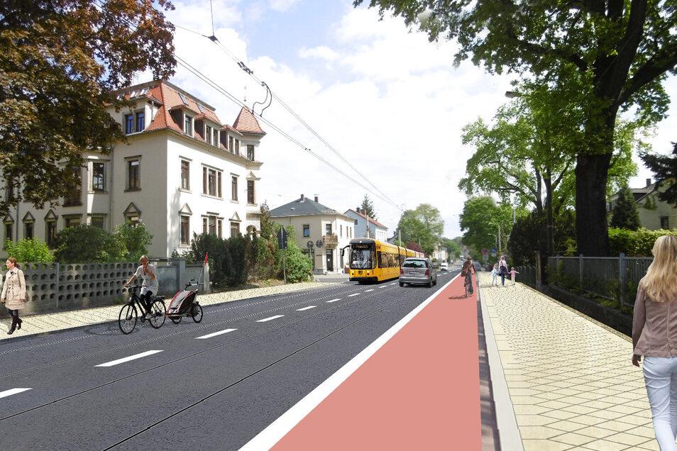 Die Königsbrücker Landstraße in Klotzsche soll in Richtung Weixdorf einen durchgängigen Radweg bekommen. Das wünschen sich zumindest viele Bürger.