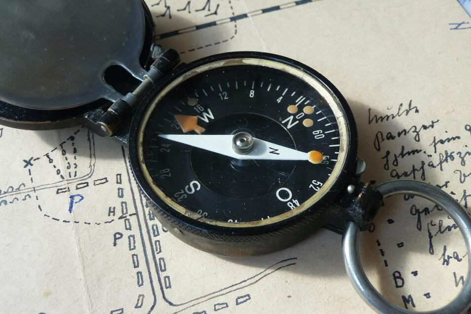 Marcel Weises Marschkompass. In Russland und in Rumänien bewahrte das Instrument den versprengten Unteroffizier vor der Gefangennahme.