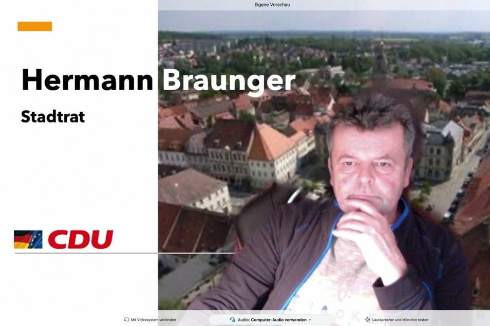 Video-Meetings gehören zum Alltag von Hermann Braunger. Der 63-Jährige ist CDU-Stadtrat in Großenhain und plädiert für mehr digitale Kommunikation.
