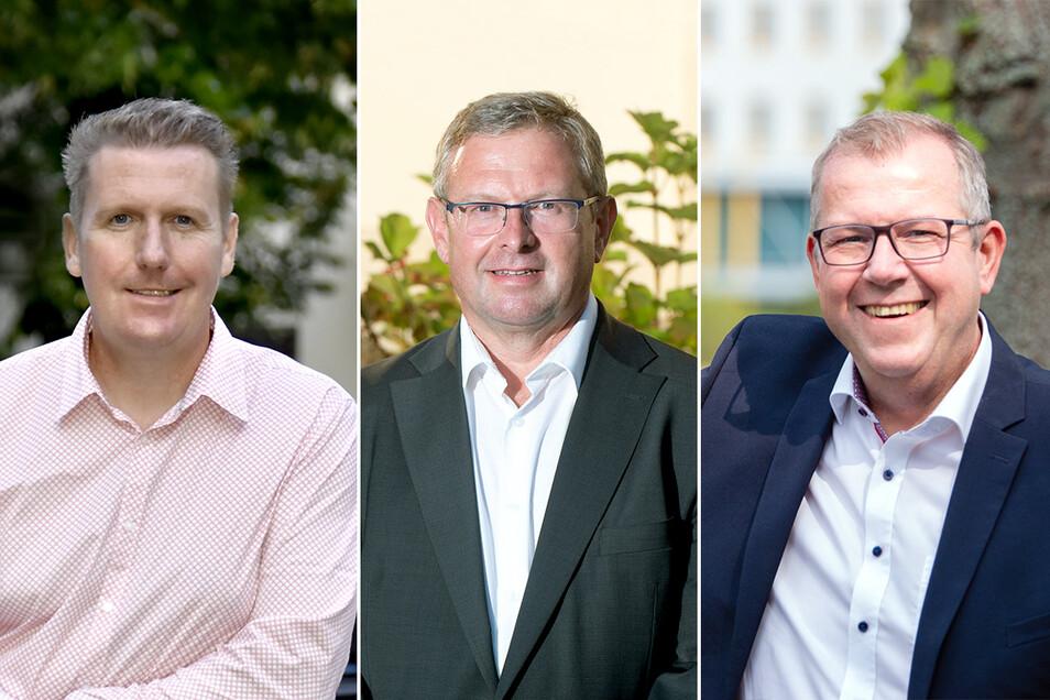 CDU-Kandidat Frank Eisold, AfD-Kandidat Detlef Oelsner oder der Kandidat des Bürgerforums Ilko Keßler (v.li.): Wer wird Bürgermeister in Arnsdorf? Die Entscheidung fällt am 11. Oktober.