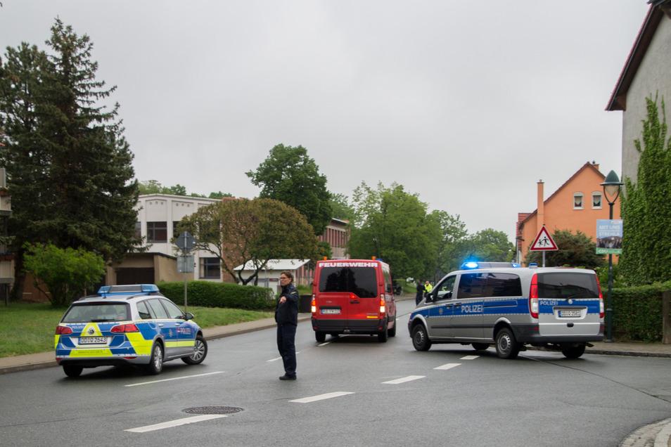 Die Leckwitzer Straße war auf Höhe der Oberschule Strehla gesperrt.