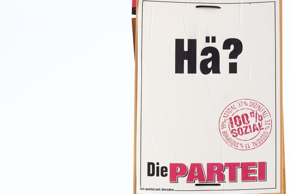 """Vielsagend: Wahlplakat der Partei """"Die Partei""""."""