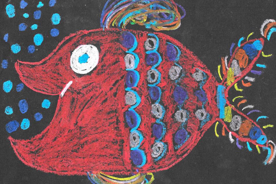 """Celine Sophie Hunger hat das Bild mit Ölkreide gezeichnet. Die Elfjährige nannte es """"Heute bin ich fröhlich"""". Die Arbeit entstand nach einer Anregung des Kinderbuches """"Heute bin ich"""" von Mies van Hout im Unterricht."""