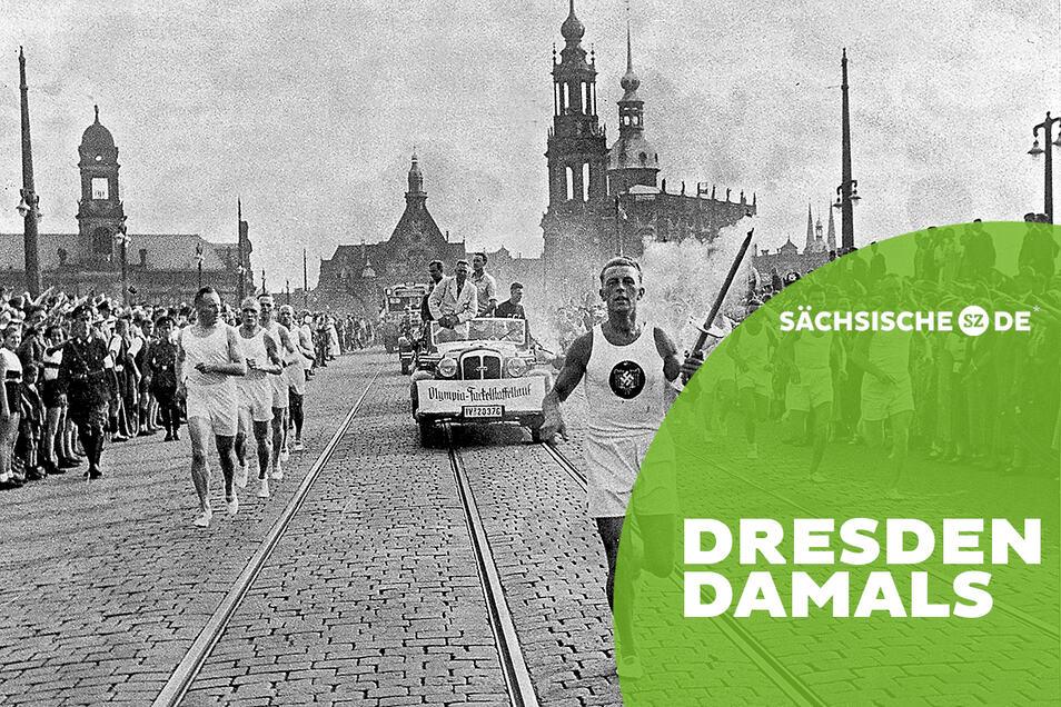 Das Olympische Feuer 1936 an der Augustusbrücke vor barocker Stadtkulisse auf dem Weg nach Berlin.