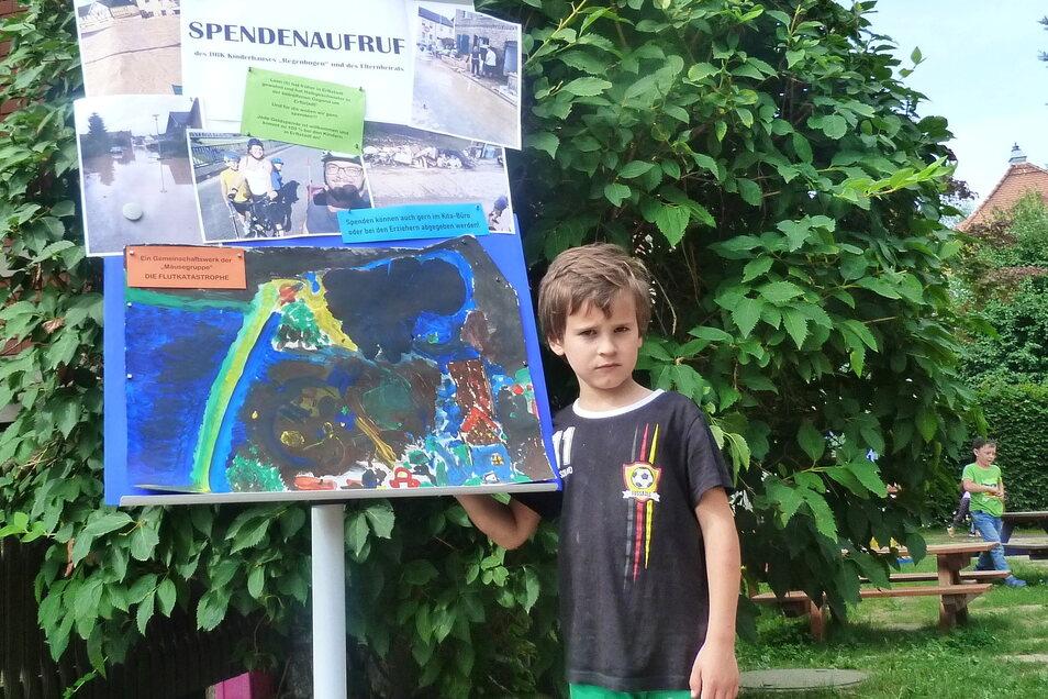 Leon Benad zog mit seiner Mutter vor einem Jahr aus Nordrhein-Westfalen nach Kamenz. Sein Papa, der Halbbruder und die Oma leben noch in der Gegend um Erftstadt und waren stark vom Hochwasser betroffen. Leons Kita startete daraufhin einen Spendenaufruf.