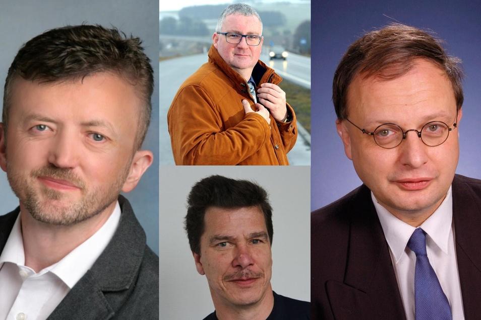 Die vier SPD-Kandidaten:  Thomas Kuhne (im Bild links) Thomas Baum (oben) , Mike Thomas (unten), Andres Herrmann (rechts).