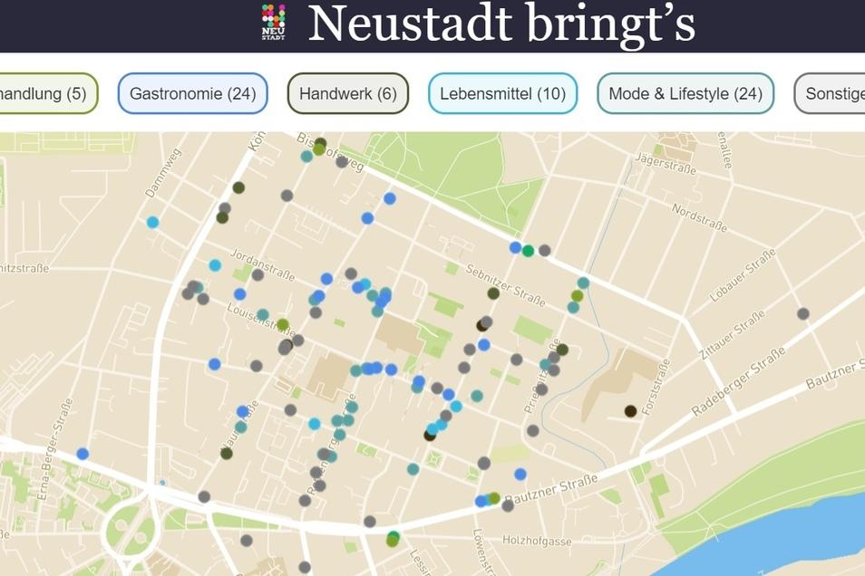 """Die Karte auf der Website """"Neustadt bringt's"""" zeigt Gastronomen, Händler und Initiativen vor Ort und informiert über deren Angebote und Öffnungszeiten während der Corona-Krise."""