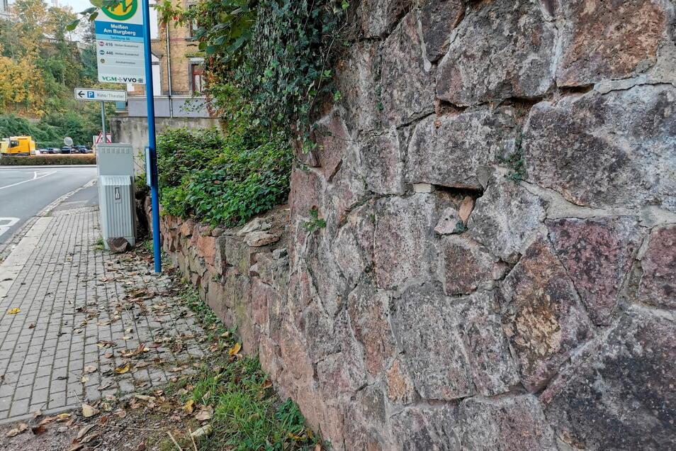 Aus der Mauer an der Leipziger Straße, gleich hinter den Schottenbergstufen, fallen immer wieder einzelne Steine auf den Fußweg.